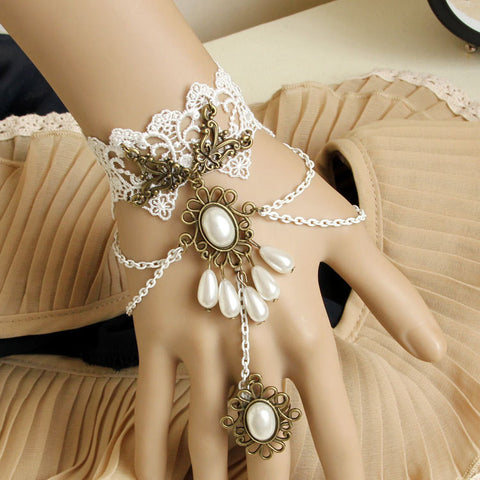 White Pearl Ring-to-Wrist Bracelet - Florence Scovel - 1
