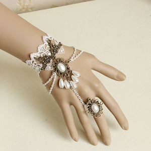 White Pearl Ring-to-Wrist Bracelet - Florence Scovel - 2