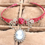 Red Lace Choker Necklace - Florence Scovel - 1