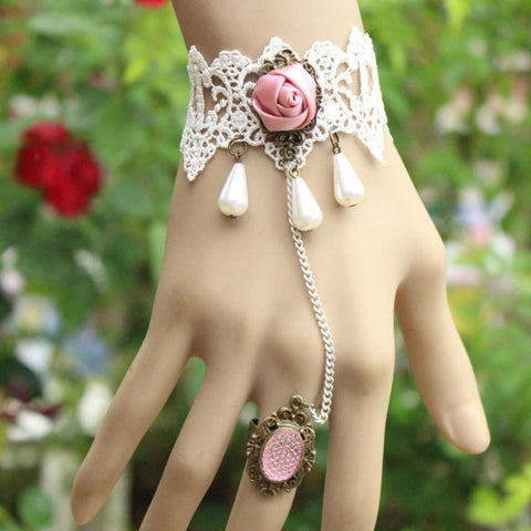 Pink Rose Ring-to-Wrist Bracelet - Florence Scovel - 1