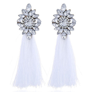 Ethnic Crystal Long Tassel Earrings