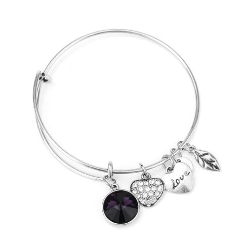 February Birthstone Charm Bangle - Florence Scovel - 3