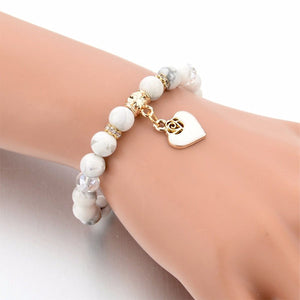 White Natural Stone Heart Bracelet