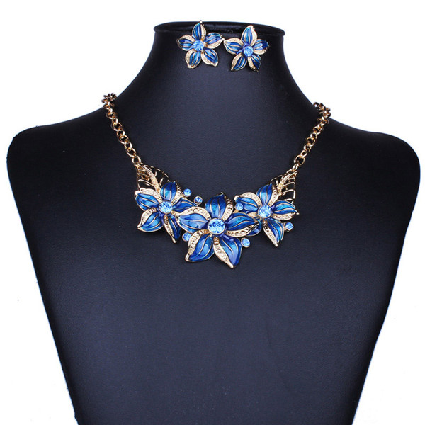 Enamel Flower Statement Necklace Set