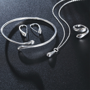 Silver Waterdrop Necklace Set