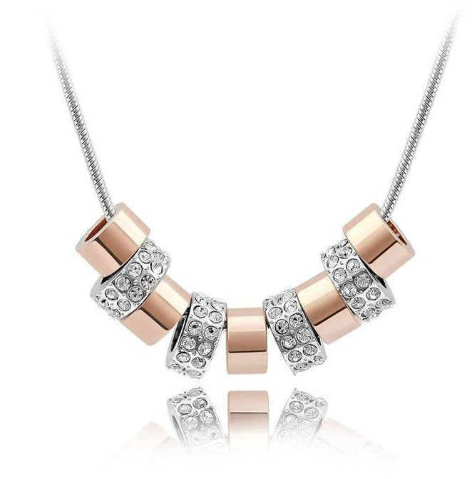White Gold & Rose Gold Over Silver 9 Hoop Pendant - Florence Scovel