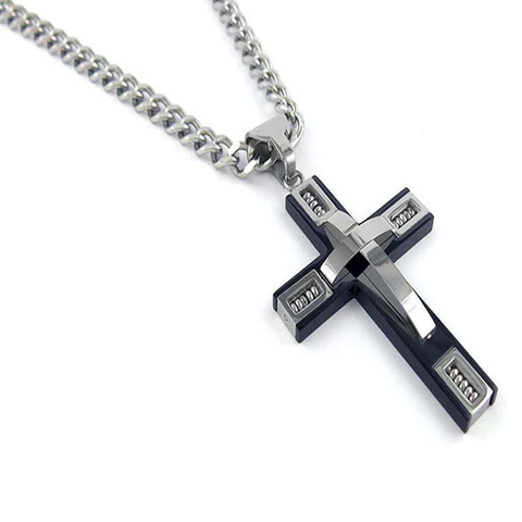 Stainless Steel Beaded Cross Men's Pendant - Florence Scovel - 1
