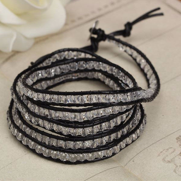 Black on Clear Crystal Wrap Bracelet - Florence Scovel - 4