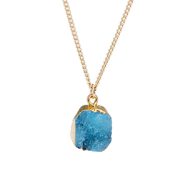 Blue Druzy Stone Necklace - Florence Scovel - 1