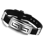 Men's Stainless Steel and Black Rubber Bracelet - Florence Scovel - 2