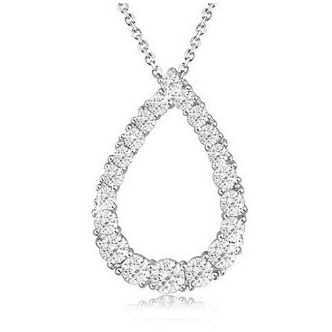 Rhodium Plated Pear Shape CZ Pendant with Chain - Florence Scovel
