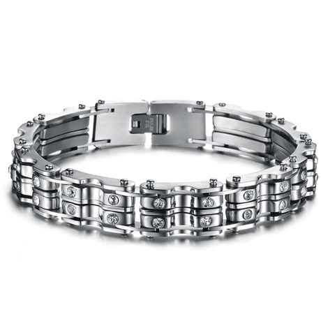 Clean CZ Diamond Stainless Steel Men's Bracelet - Florence Scovel - 1