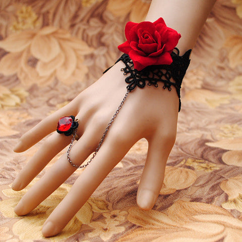 Red Rose Ring-to-Wrist Bracelet - Florence Scovel