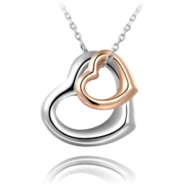 Double Heart Gold-Silver Overlay Pendant - Florence Scovel - 1