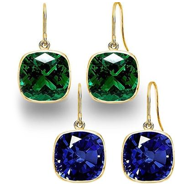 Sapphire and Emerald Gold Plated Drop Earrings Set