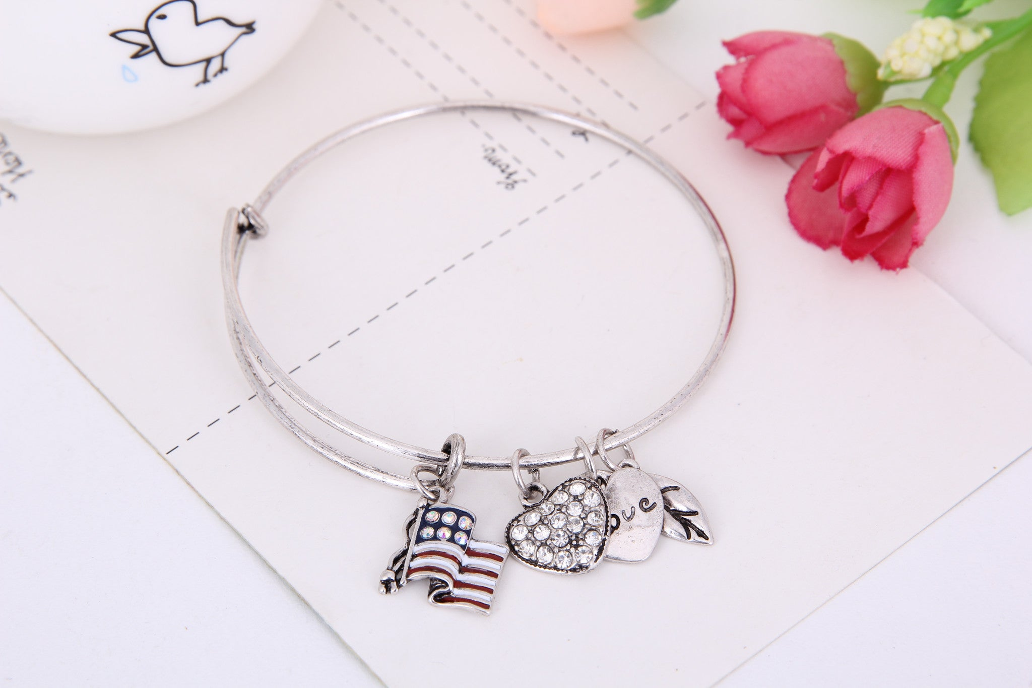 Flag Love Charm Bangle - Florence Scovel - 5