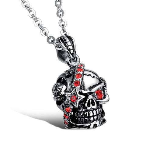 Bloody Stainless Steel and Cubic Zirconia Skull Pendant - Florence Scovel - 1