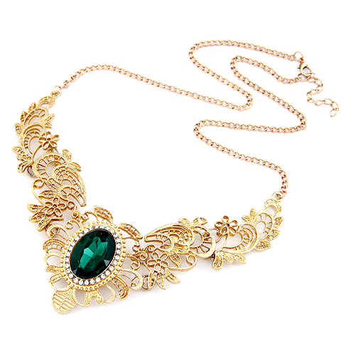 Green Emerald Statement Necklace - Florence Scovel