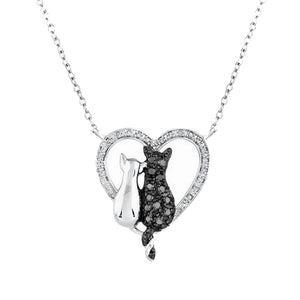 Bow-Knot Crystal Cat Pendant Necklace
