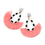 Bohemian Marble Tassel Drop Earrings