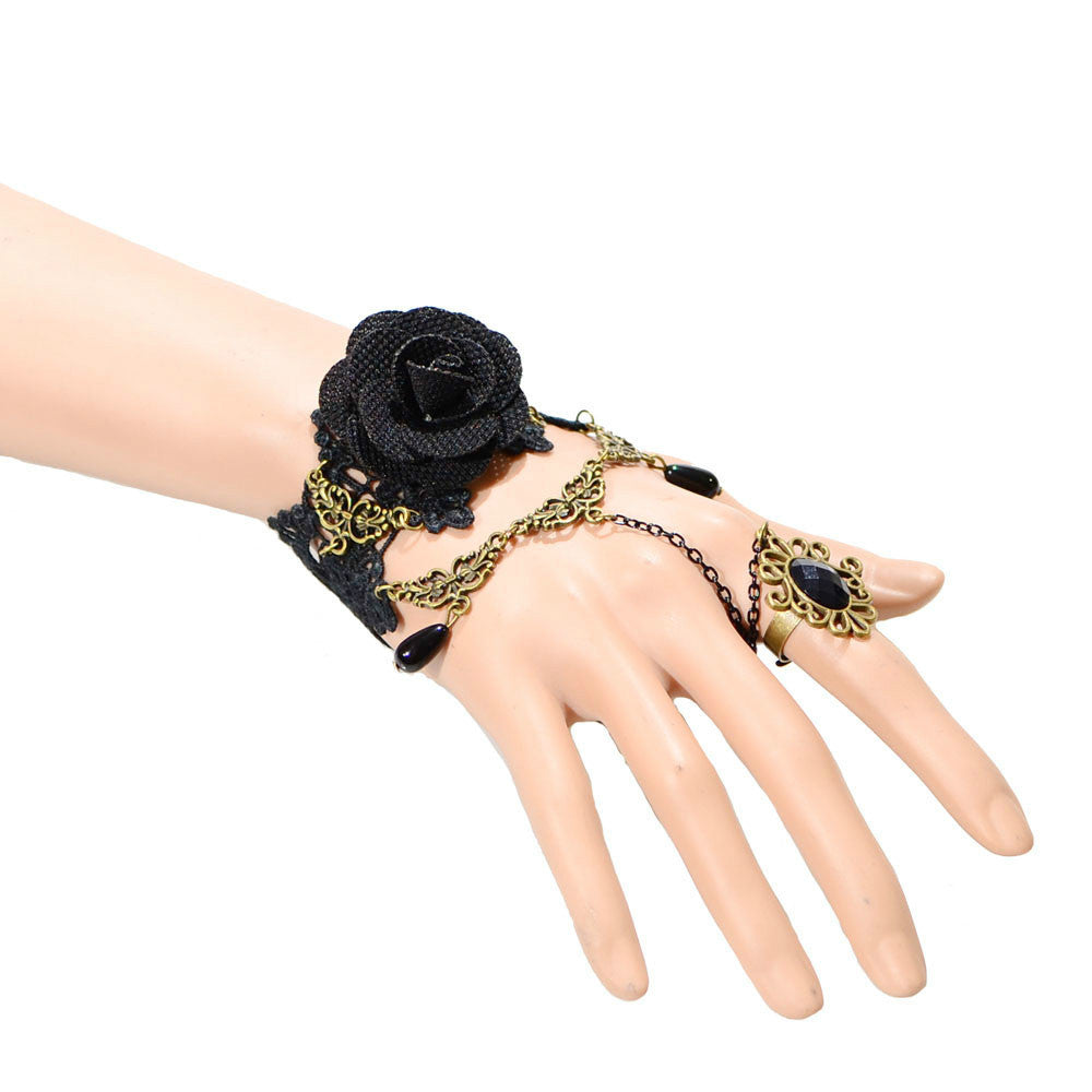Dark Rose Ring-to-Wrist Bracelet - Florence Scovel - 1
