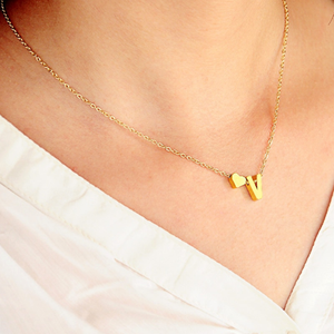 Tiny Initial Heart Choker Necklace