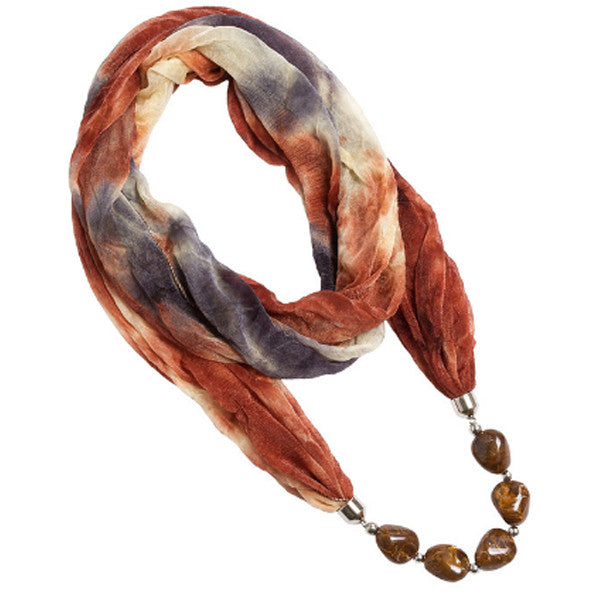 Hippie Earth-Tone Scarf Necklace - Florence Scovel - 1