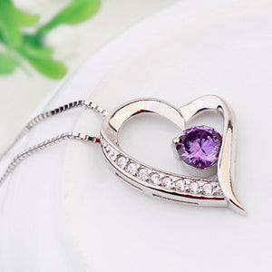 Crystal Heart Silver Pendant(Purple) - Florence Scovel - 3