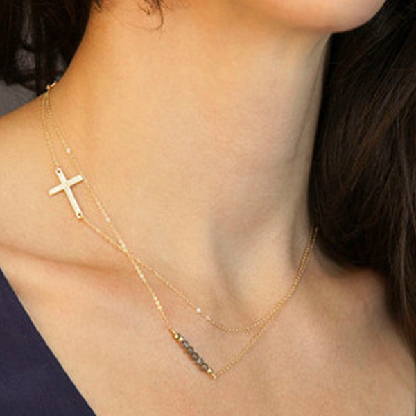 Two Layer Crystal Cross Necklace - Florence Scovel - 1