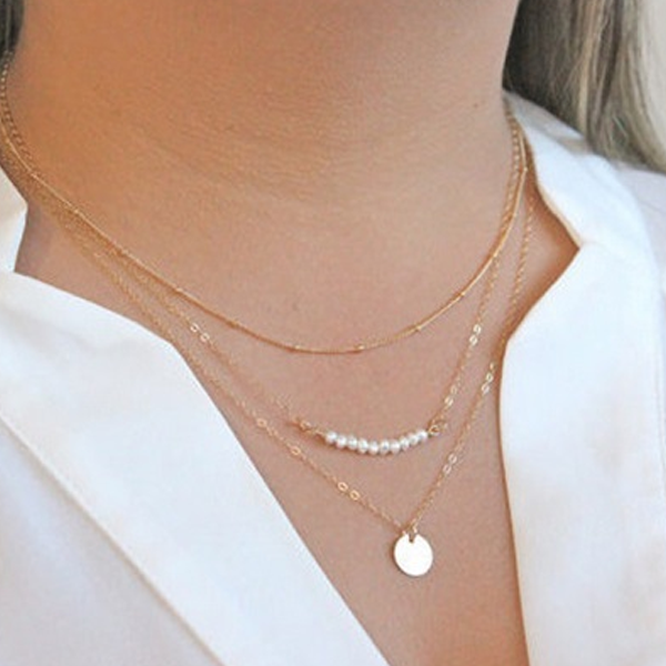 Three Layer Pearl Circle Necklace - Florence Scovel