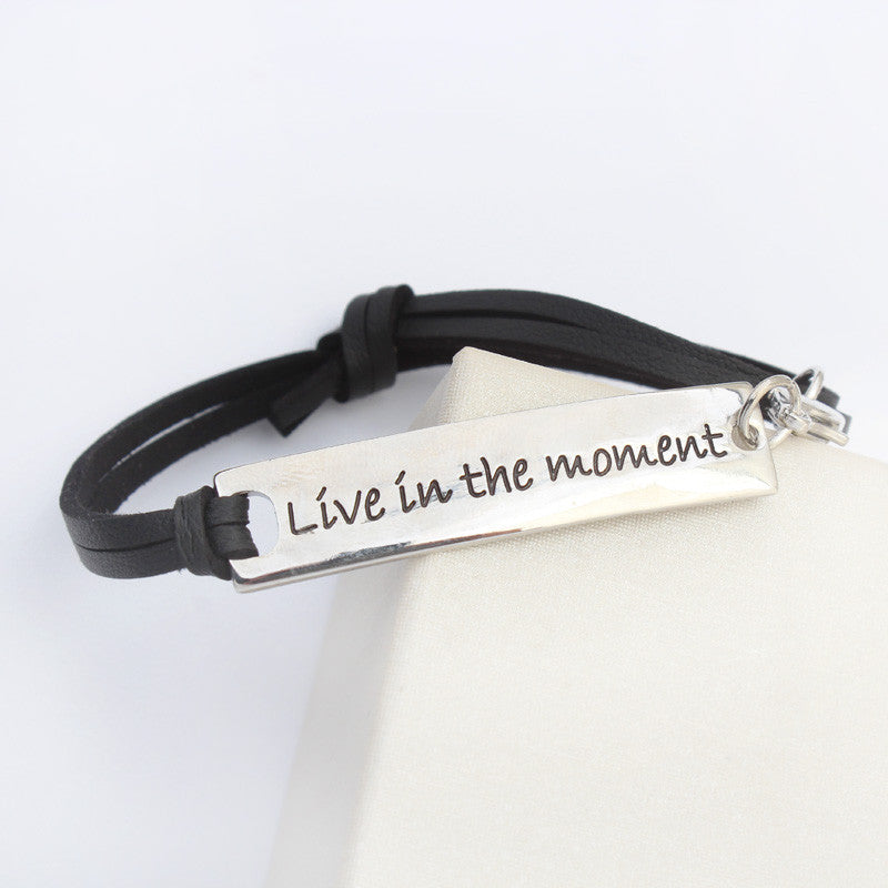 Live In The Moment Leather Strap Bracelet - Florence Scovel - 2