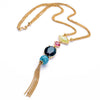 Long Multi-Colored Gem Stone Tassel Necklace - Florence Scovel - 2