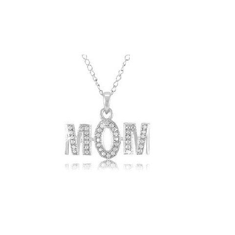 Diamond Accent  MOM Pendant with 18