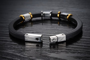 Punk Gold Stainless Steel Black Genuine Silicone Men's Bracelet - Florence Scovel - 2