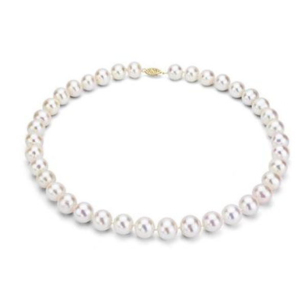 White Cultured Freshwater Pearl Necklace in 14K White Gold