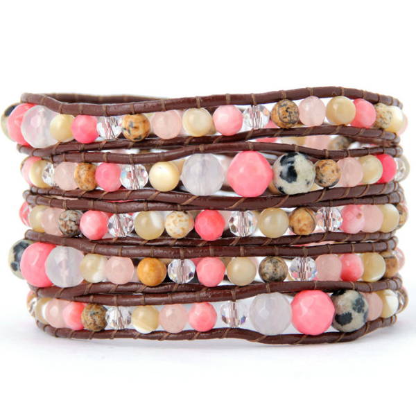 Soft Pink Natural Wrap Bracelet - Florence Scovel - 1