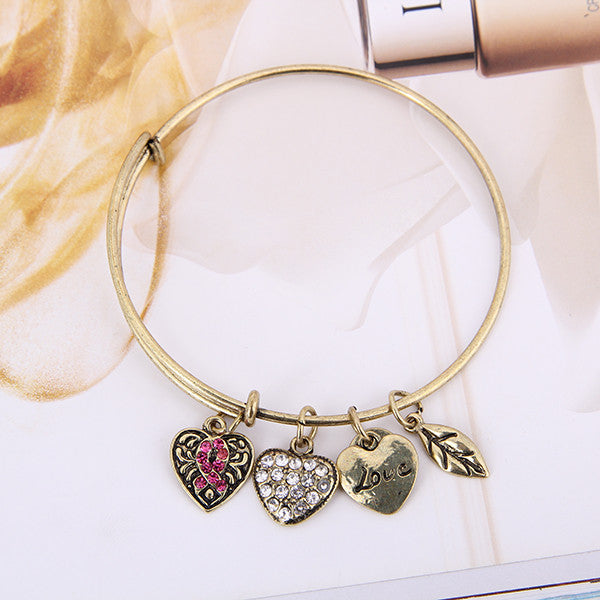 Pink Ribbon Charm Bangle - Florence Scovel - 5