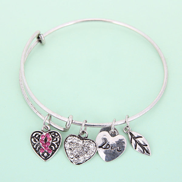 Pink Ribbon Charm Bangle - Florence Scovel - 8