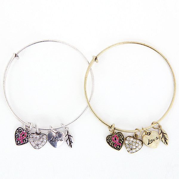 Pink Ribbon Charm Bangle - Florence Scovel - 4