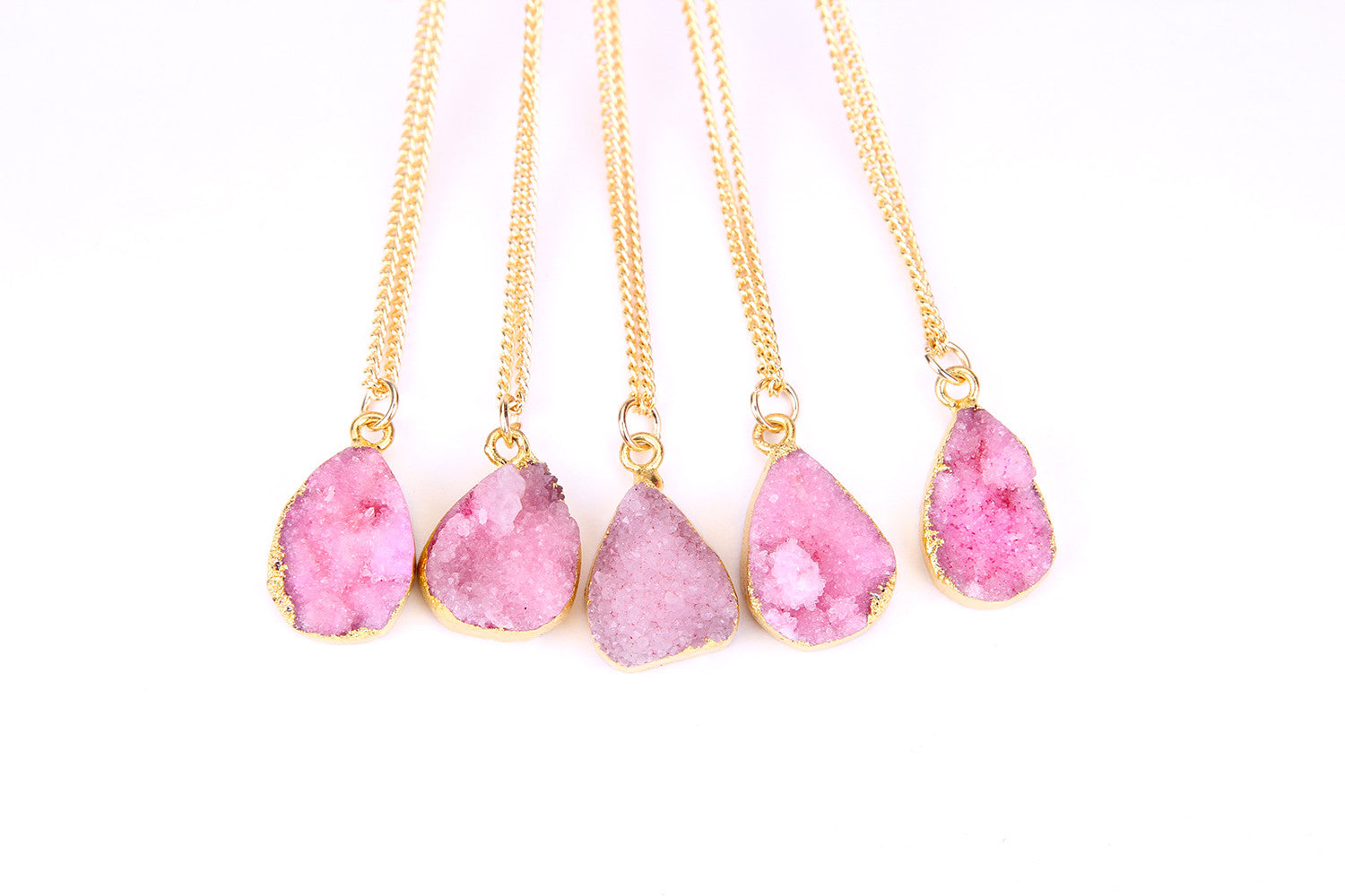 Pink Druzy Stone Necklace - Florence Scovel - 2