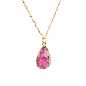 Pink Druzy Stone Necklace - Florence Scovel - 6