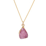 Pink Druzy Stone Necklace - Florence Scovel - 7
