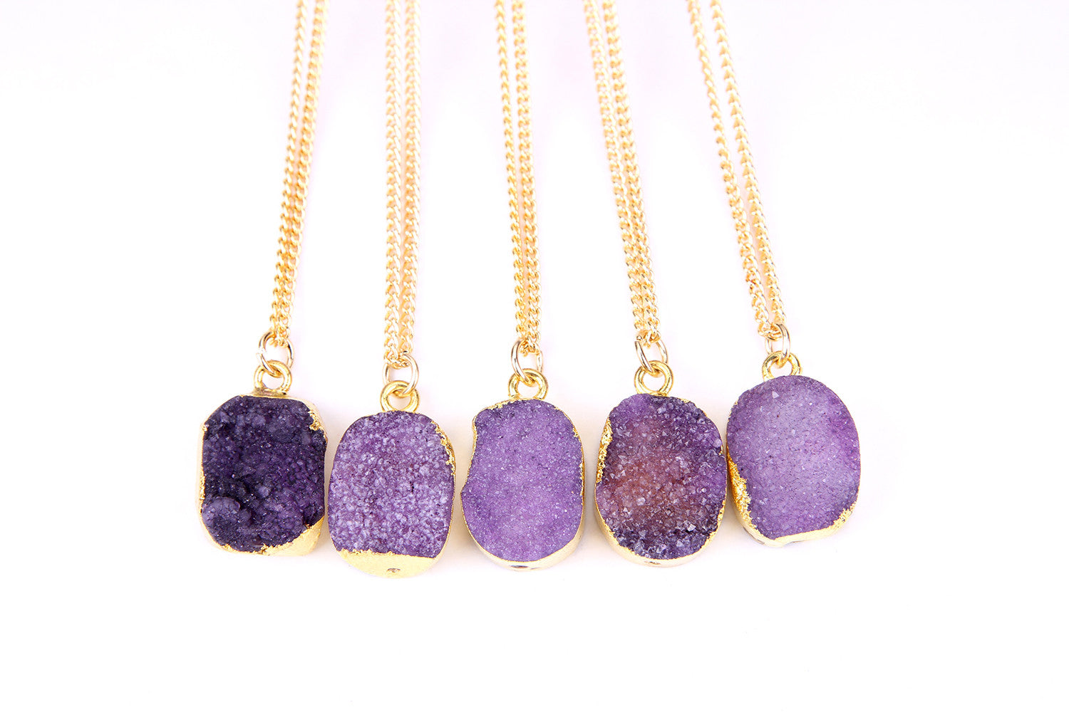 stone clip on purple necklace rounding pin earring set gold round