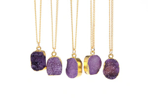 Purple Druzy Stone Necklace - Florence Scovel - 3