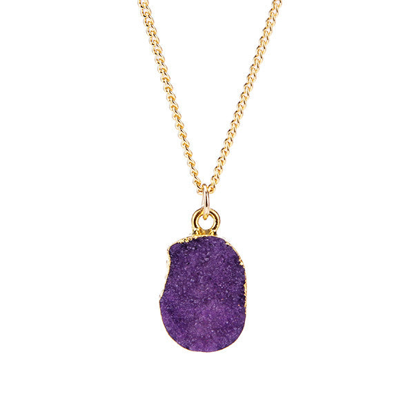 Purple Druzy Stone Necklace - Florence Scovel - 1