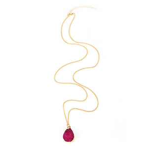 Rose Red Druzy Stone Necklace - Florence Scovel - 2