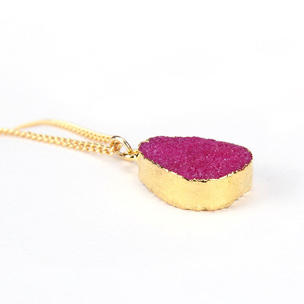 Rose Red Druzy Stone Necklace - Florence Scovel - 3