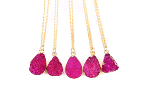 Rose Red Druzy Stone Necklace - Florence Scovel - 4