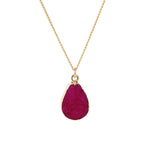 Rose Red Druzy Stone Necklace - Florence Scovel - 7