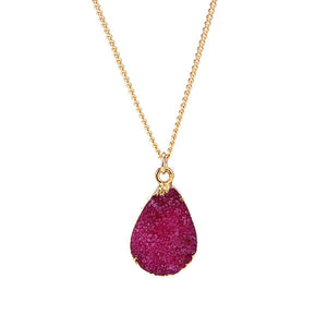 Rose Red Druzy Stone Necklace - Florence Scovel - 9